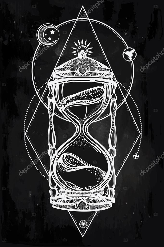 Sanduhr gezeichnet  gezeichnet romantischen Entwurf einer Sanduhr — Stockvektor #91522180