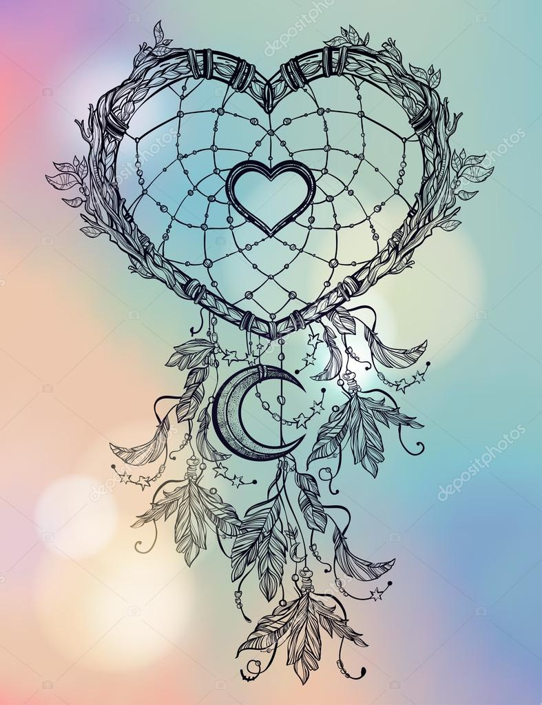 Hartvormige Dream Catcher Met Maan Stockvector Katja87 95966016