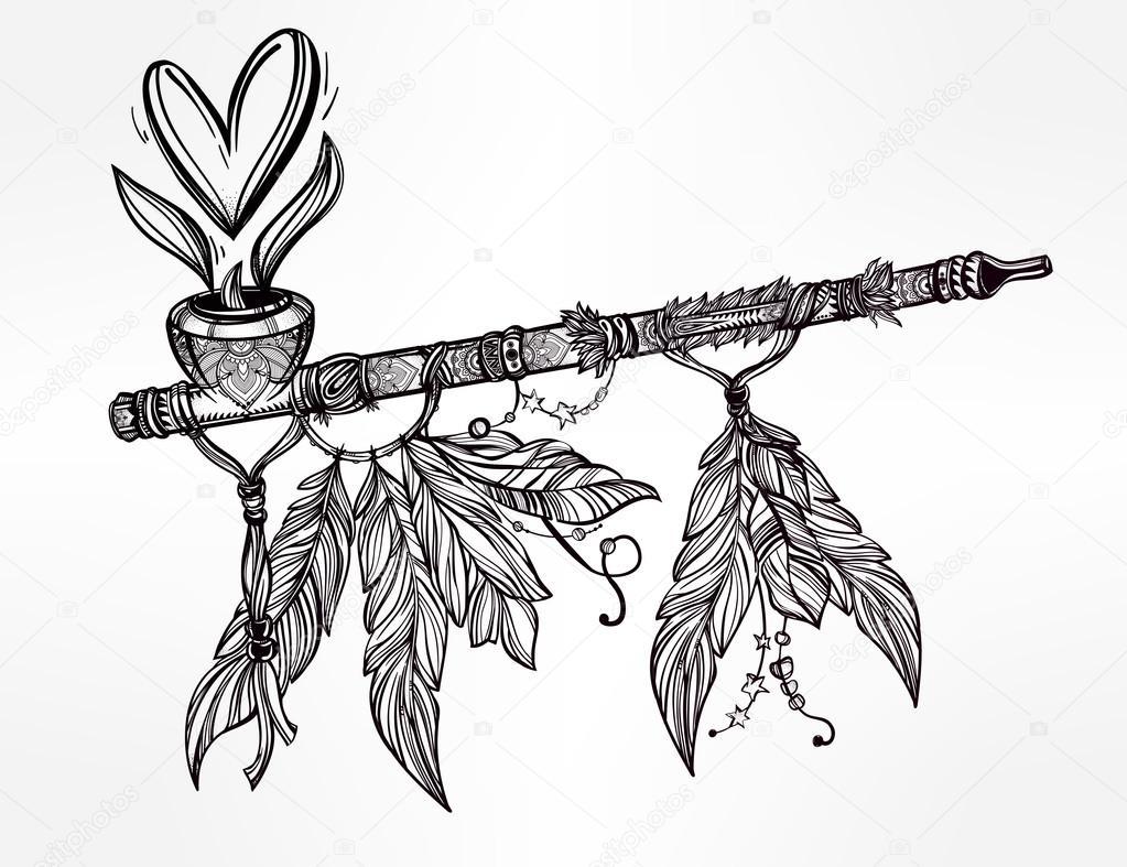 Pagan indian smoking pipe of love and peace stock vector pagan indian smoking pipe of love and peace stock vector 96402948 buycottarizona
