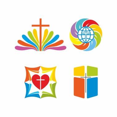 Logo church. Christian symbols. Colored solutions.