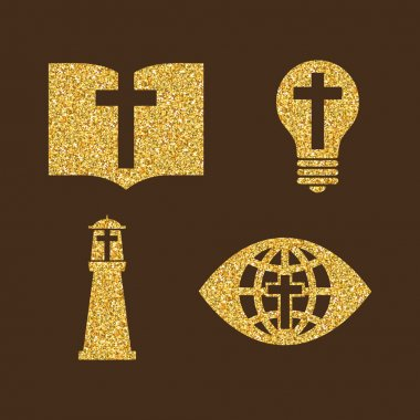 Christian logos, symbols. Brilliant color of gold.
