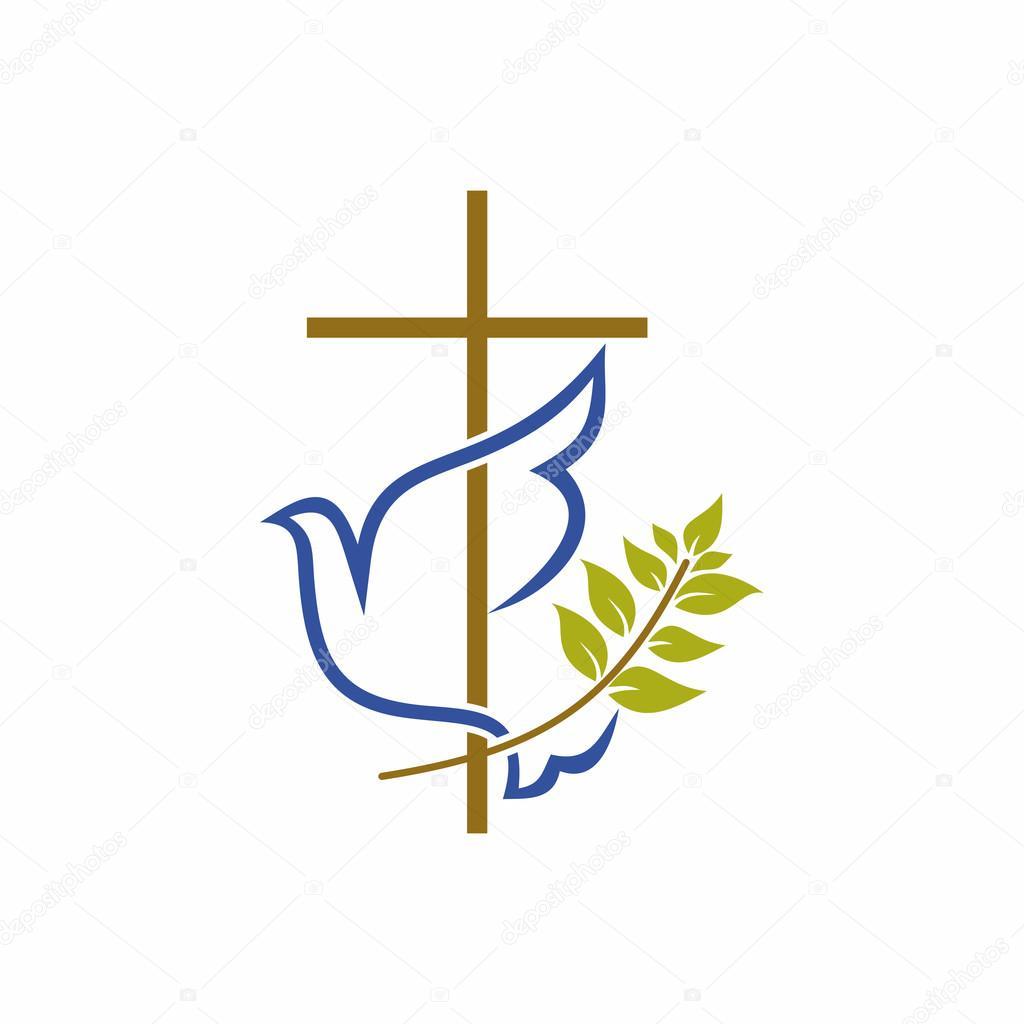 church logo christian symbols cross dove and olive