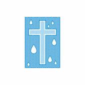 Fotografia Chiesa di logo. Simboli cristiani. Croce. Lacqua viva scorre