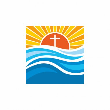 Logo church. Christian symbols. Waves, cross, sun, streams of water alive.