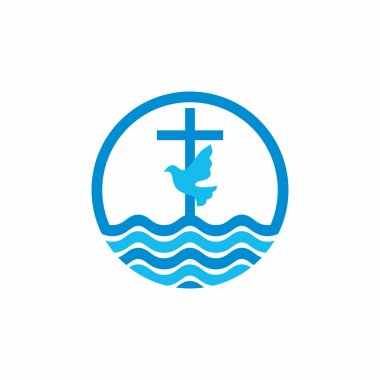Logo church. Christian symbols. Cross and dove, waves. Jesus - the source of living water.