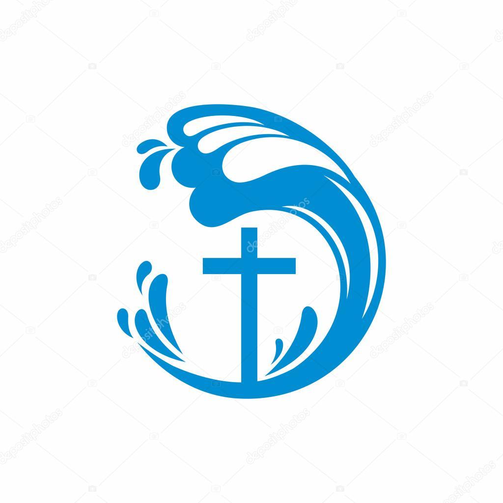 Logo Church Christian Symbols Cross And Waves Jesus