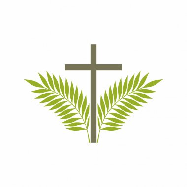 Church logo. Christian symbols. Cross and palm branches.