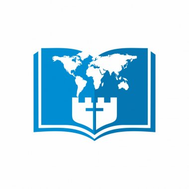 Church logo. Christian symbols. Open bible, world map and cross.