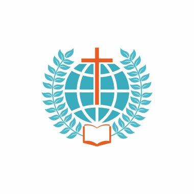 Church logo. Christian symbols. Cross, globe, open bible and laurel branches.