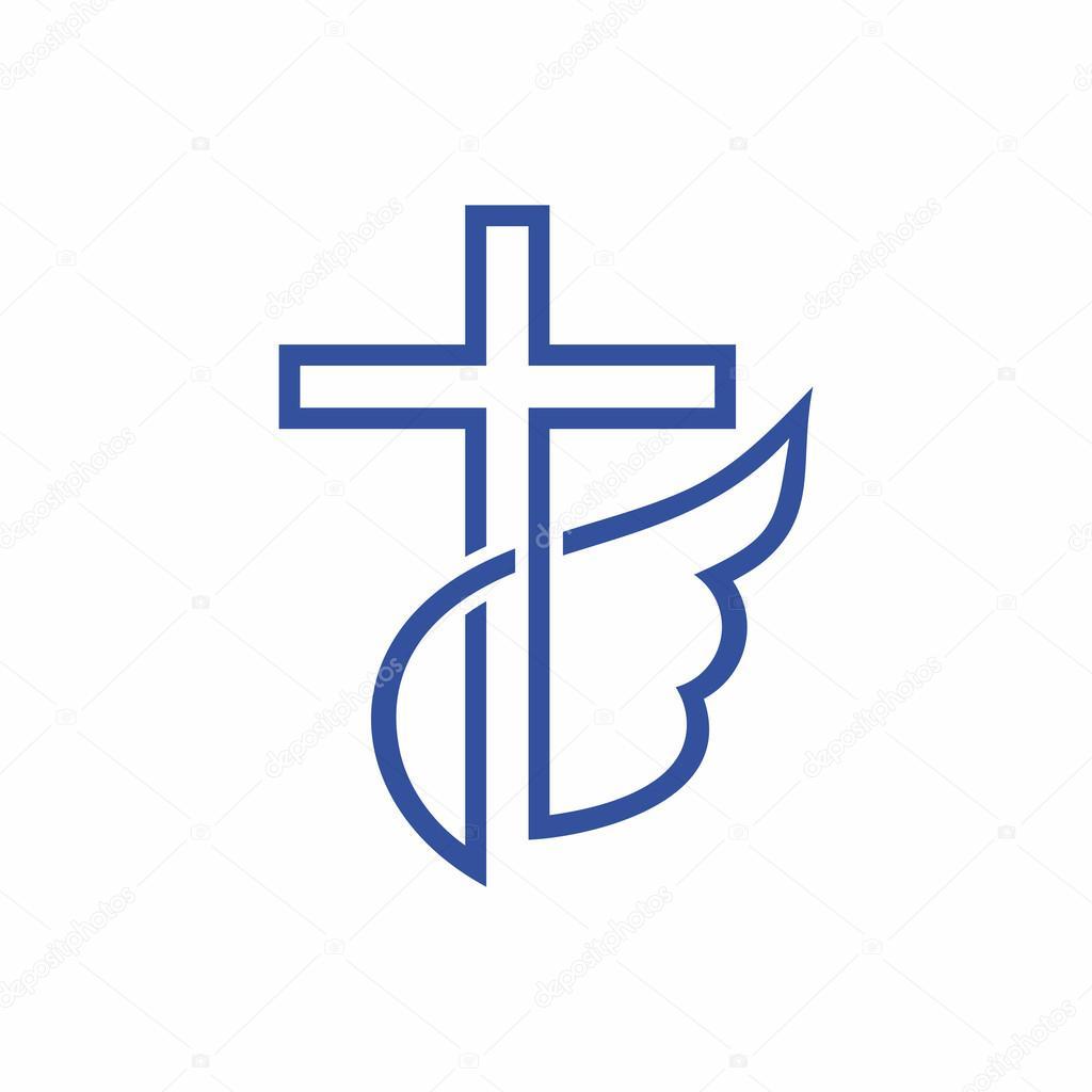 kirche logo christliche symbole kreuz und fl gel. Black Bedroom Furniture Sets. Home Design Ideas