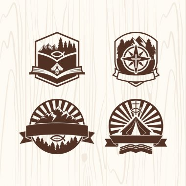 Christian summer camp badges logos and labels for any use, on wooden background texture