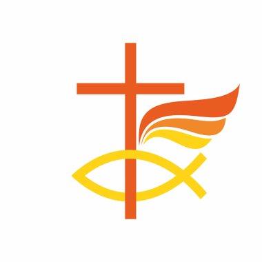 Church logo. The cross of Jesus Christ, fish, angel wing.
