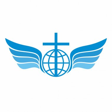 Church logo. Globe, world, Jesus' cross and angel wings.
