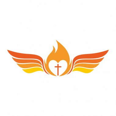 Church logo. The cross of Jesus Christ, the flame of the Holy Spirit, and angel wings.