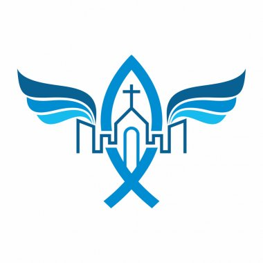 Church logo. The unity of the Church in Christ, city and angel's wings.
