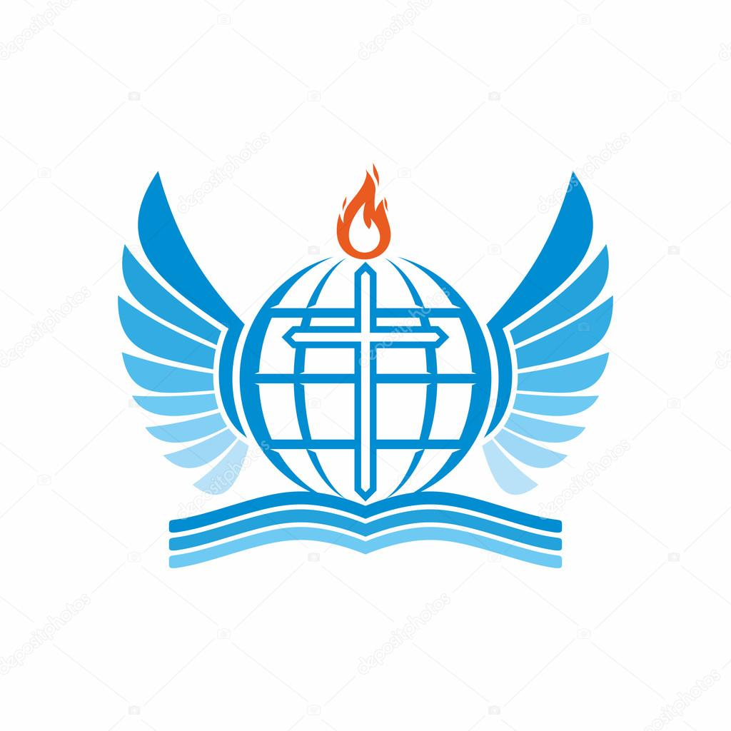 Church Logo Bible Cross Globe And The World The Flame