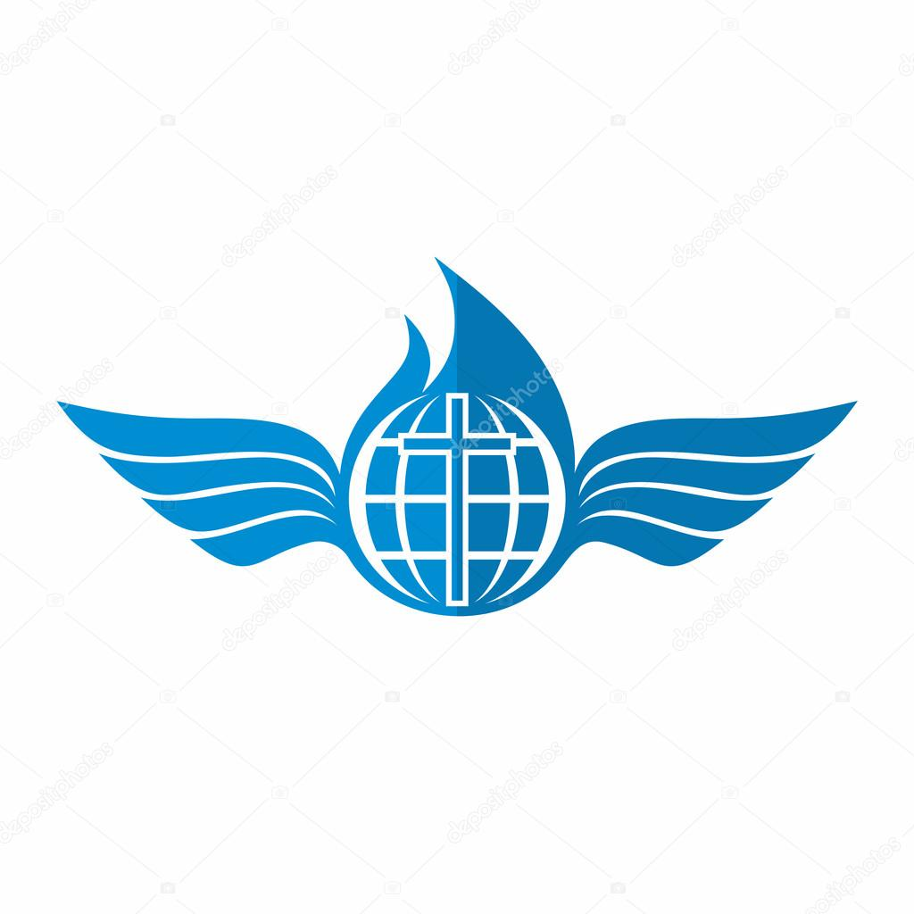 church logo globe and world cross of jesus christ and the fire of