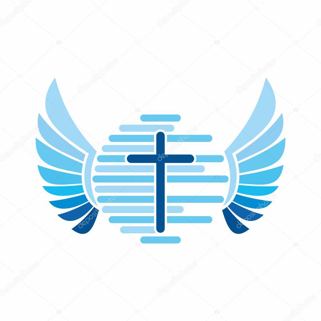church logo the cross of jesus christ and the world globe angel
