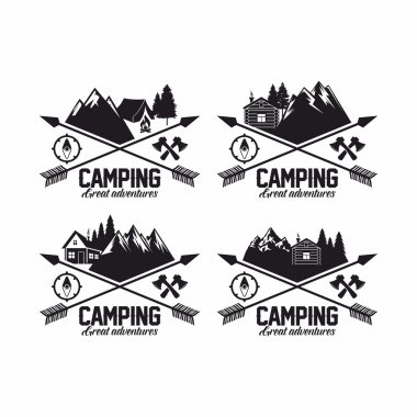 Summer camp badges logos and labels