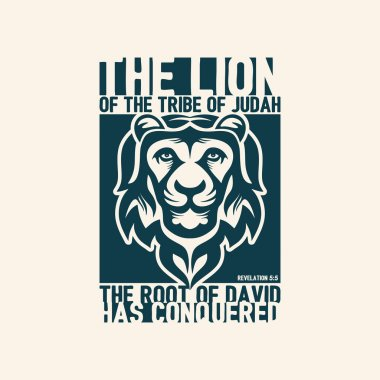 Biblical illustration. Christian lettering. The lion of the tribe of Judah. Revelation 5:5