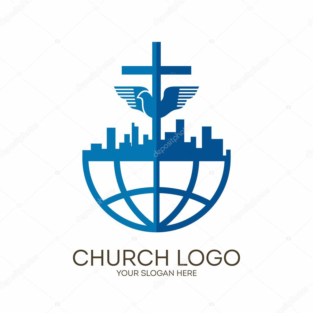 Church logo christian symbols city globe jesus cross and dove christian symbols city globe jesus cross and dove the holy spirit vector by biblebox biocorpaavc Image collections