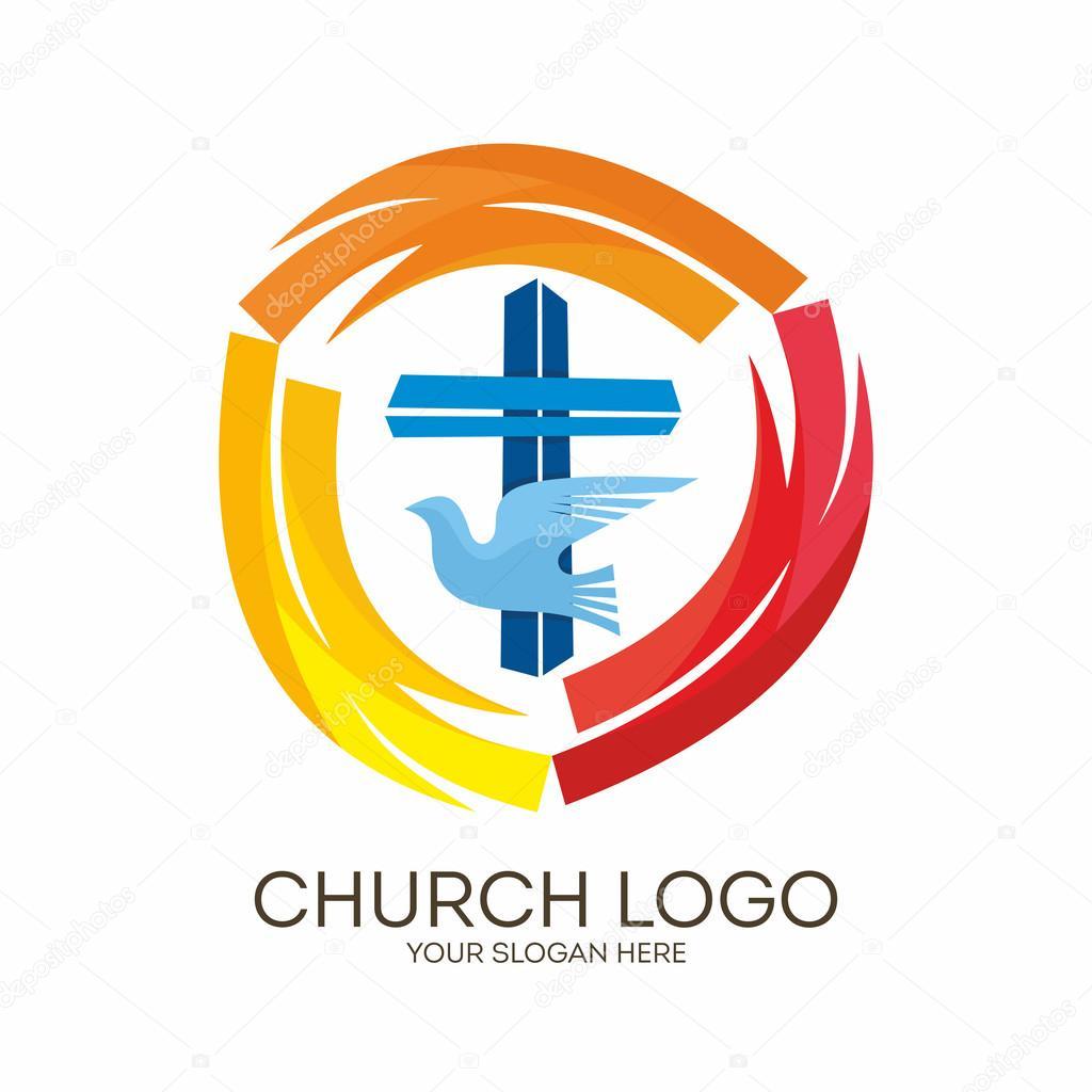 Conosciuto Logo di Chiesa. Simboli cristiani. Croce colomba - lo Spirito  HN64