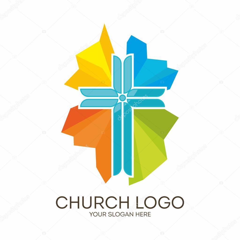 Logotipo de la iglesia. Símbolos cristianos. Cruz de Jesús para ...