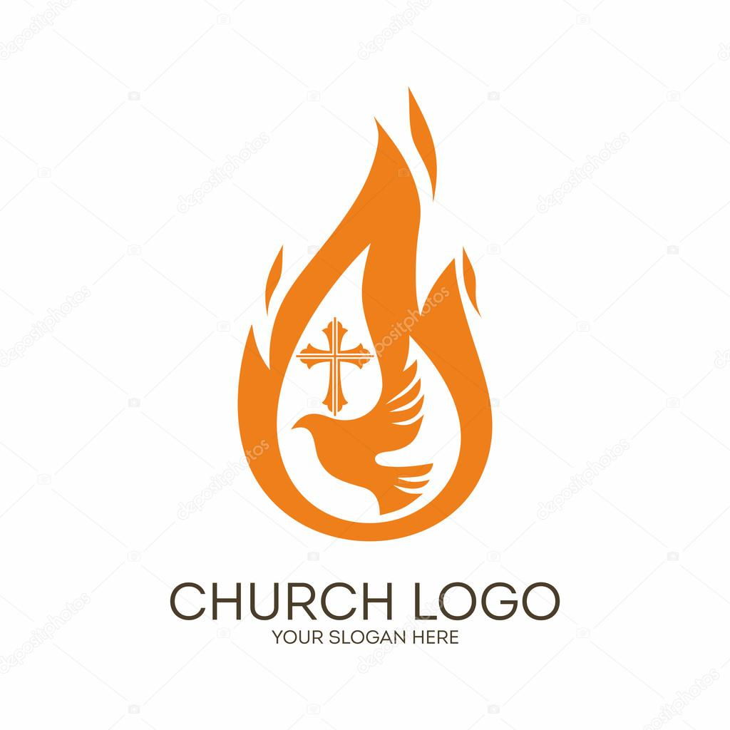 church logo christian symbols dove the flame of the