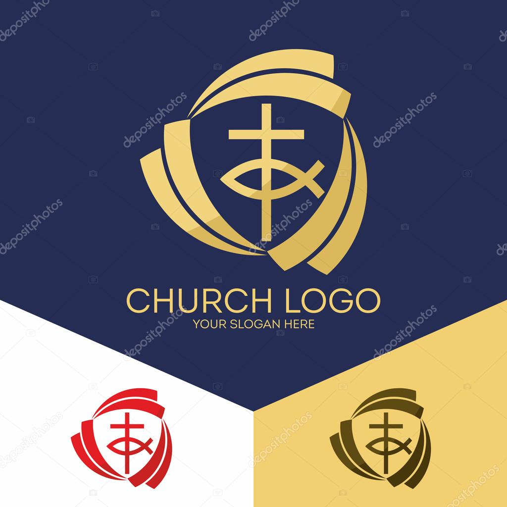 Church Logo Christian Symbols Trinity The Cross And Jesus Fish