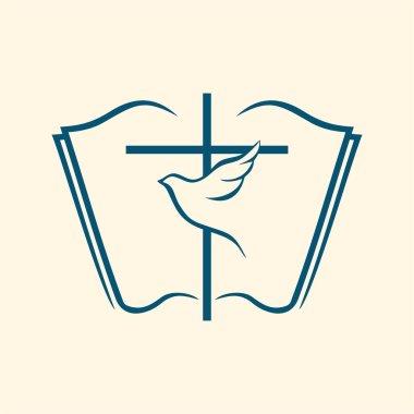 Holy spirit, cross, dove, Bible stock vector