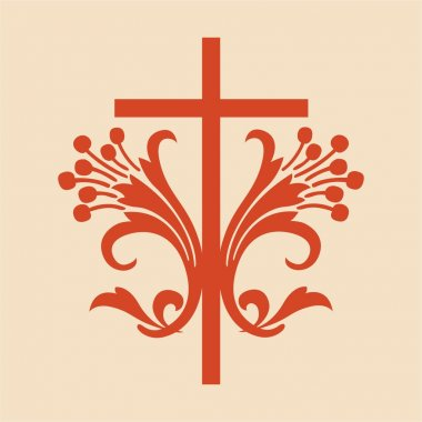 Red scrolled cross