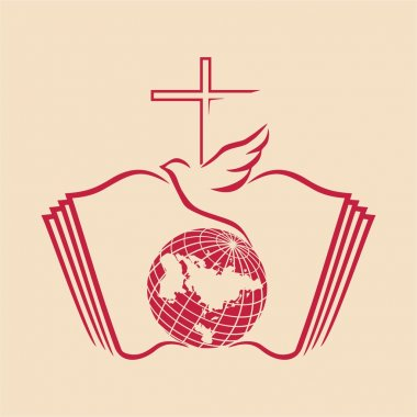 Dove, cross, globe, open Bible, icon