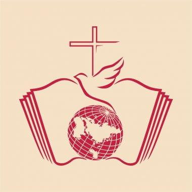 Dove, cross, globe, open Bible, icon