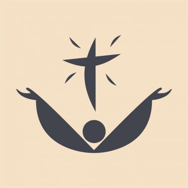Raised hands in worship and cross icon