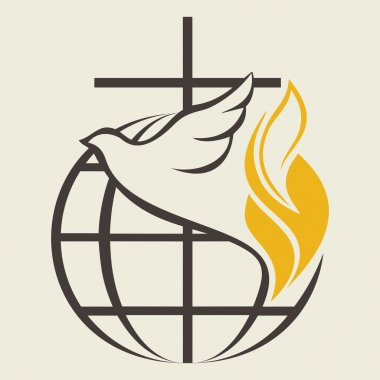 Globe, holy spirit, dove, cross, flame, Pentecost stock vector
