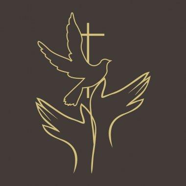 Hands, dove, holy spirit, cross, icon