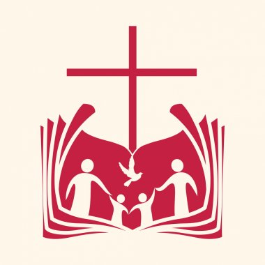 Church logo. Family, open bible, cross and dove Holy spirit.