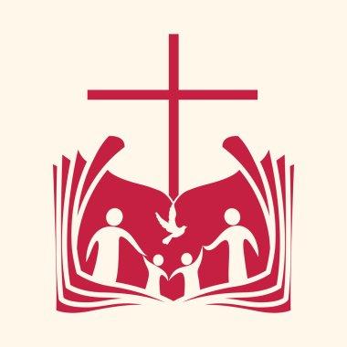 Church logo. Family, open bible, cross and dove Holy spirit.