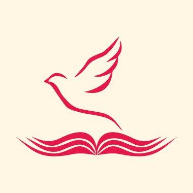 Church logo. Dove and open bible stock vector