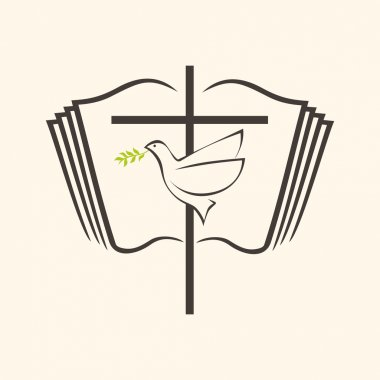 Open Bible, dove, cross, holy spirit, Bible, pages