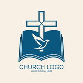 Church logo. Cross, dove, Bible, religion, Christianity, symbol, icon, blue