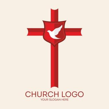 Church logo. Dove, cross, red, shield, icon, Christian