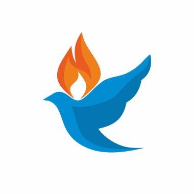 Church logo. Dove with flames icon