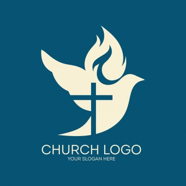 Church logo. Cross silhouette in a dove