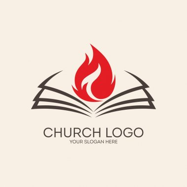 Church logo. Flames on the pages of a Bible
