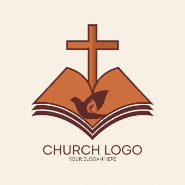 Church logo. Flame, cross, dove, Bible, religion, Christianity, symbol, icon, red, orange