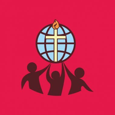 Church logo. Flame, fellowship, people, silhouettes, cross, globe, icon, symbol
