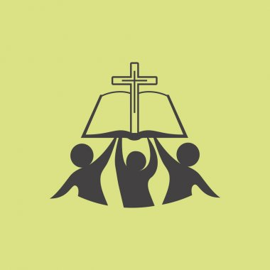 Church logo. Membership, bible, fellowship, people, silhouettes, cross, globe, icon, symbol