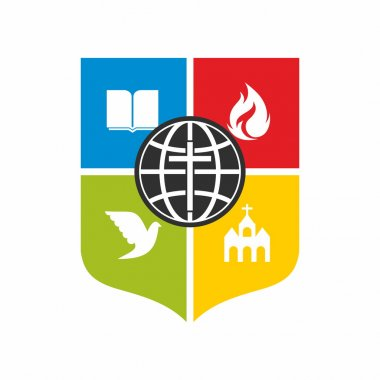 Church logo. Shield, church, cross, color blocks, icon, dove, flame, Bible, missions, cross