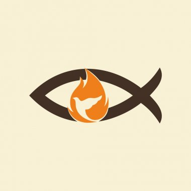 Church logo. Jesus fish, dove, flame, holy spirt, Jesus, Christian, symbol, icon